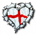 Ripped Torn Metal HEART with St. Georges Cross English Flag Motif External Car Sticker 105x100mm